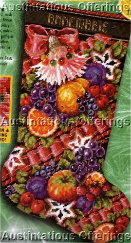 RARE BAATZ DELLA ROBBIA FRUITS CHRISTMAS NEEDLEPOINT STOCKING KIT