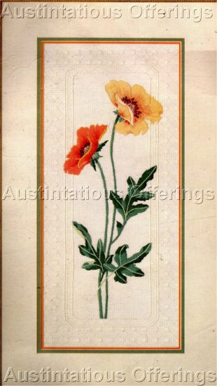 RARE POPPY PANEL FLORAL CREWEL EMBROIDERY KIT DAMASK STYLE BORDERS
