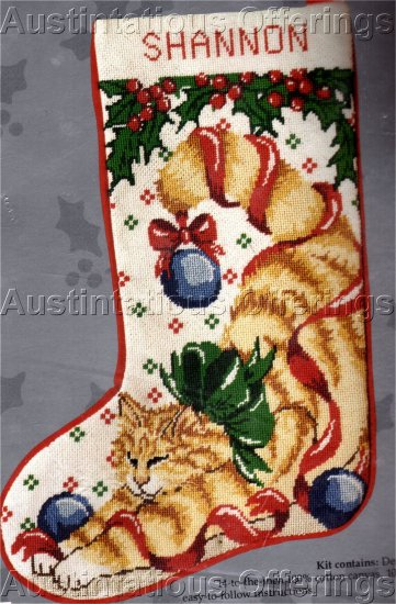 RARE YELLOW TIGER CAT NEEDLEPOINT CHRISTMAS STOCKING KIT PLAYING WITH ORNAMENTS