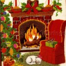 RARE COZY CHRISTMAS FIREPLACE CREWEL EMBROIDERY KIT TREE CAT