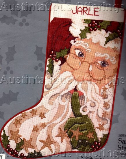 RARE CELESTIAL SANTA CLAUS CROSS STITCH STOCKING KIT