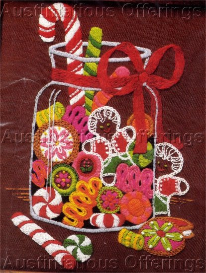 RARE CHRISTMAS CREWEL EMBROIDERY KIT CANDY CANE, GINGER BREAD MAN