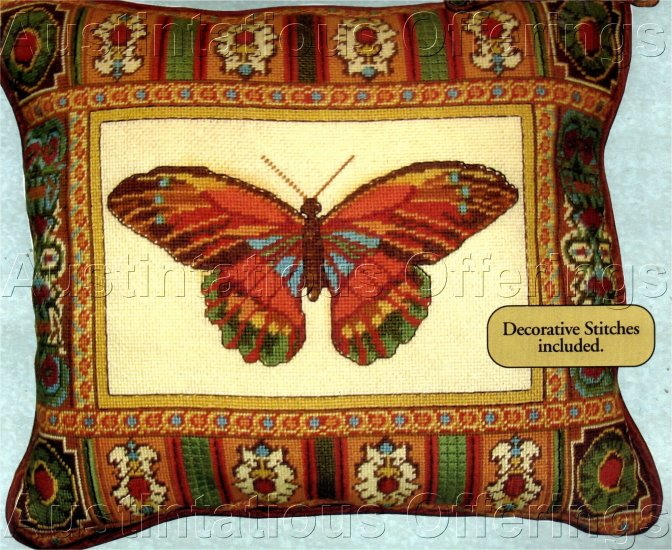 STRIKING BUTTERFLY NEEDLEPOINT PILLOW KIT TEXTURED STITCHES