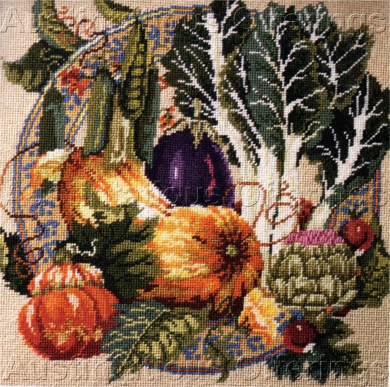 RARE BAATZ VEGETABLE STILL LIFE  FALL SUMMER HARVEST NEEDLEPOINT KIT
