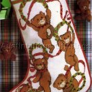 CHRISTMAS TEDDY BEARS AND HOLLY WREATHS CROSS STITCH STOCKING KIT