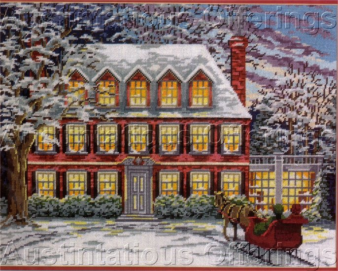 RARE GEORGIAN STYLE HOME WINTER SLEIGH RIDE NEEDLEPOINT KIT