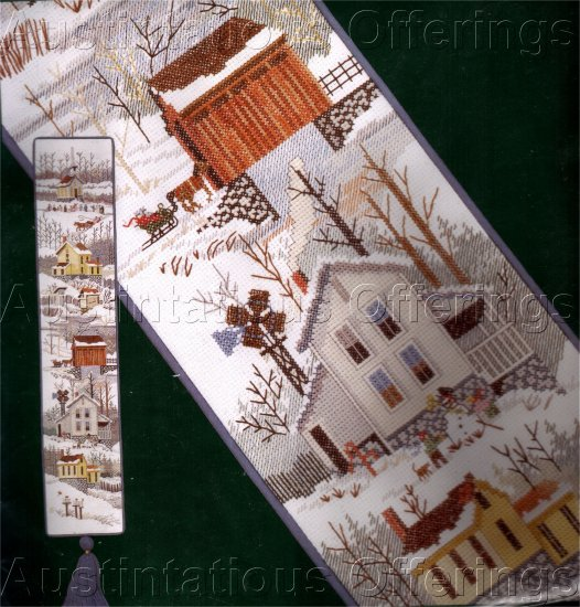 HARD TO FIND LU FULLER COUNTRY VILLAGE BELL PULL CROSS STITCH KIT
