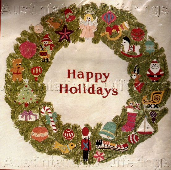 RARE CHRISTMAS CREWEL EMBROIDERY KIT  HOLIDAY TOYS  WREATH  YVONNE