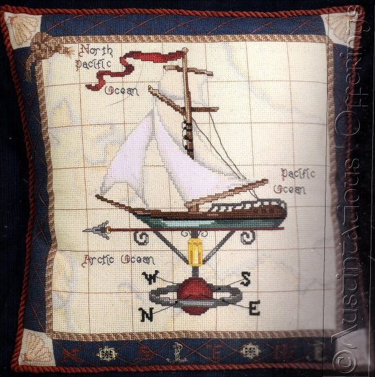 NAUTICAL SAILBOAT WEATHERVANE CROSS STITCH PILLOW KIT