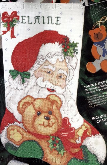 VINTAGE  CROSS STITCH STOCKING KIT SANTA HOLDING BEAR
