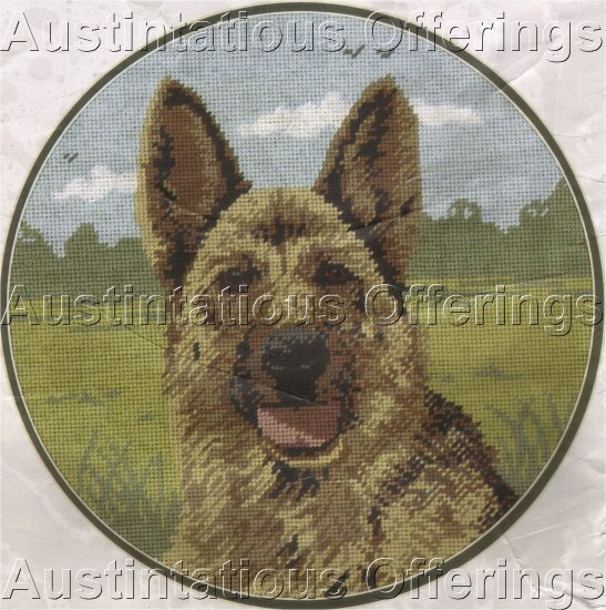 RARE GERMAN SHEPHERD DOG PORTRAIT  NEEDLEPOINT KIT PICTURE / PILLOW