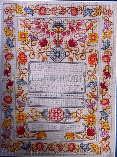 CONTEMPORARY COLORS JACOBEAN SAMPLER CROSS STITCH KIT