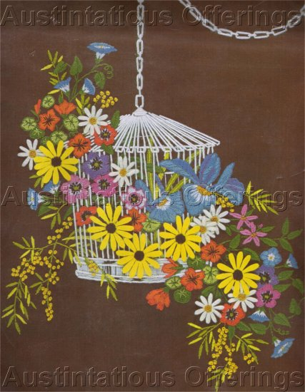 RARE GEORGIA BALL BIRD CAGE FLORAL CREWEL EMBROIDERY KIT