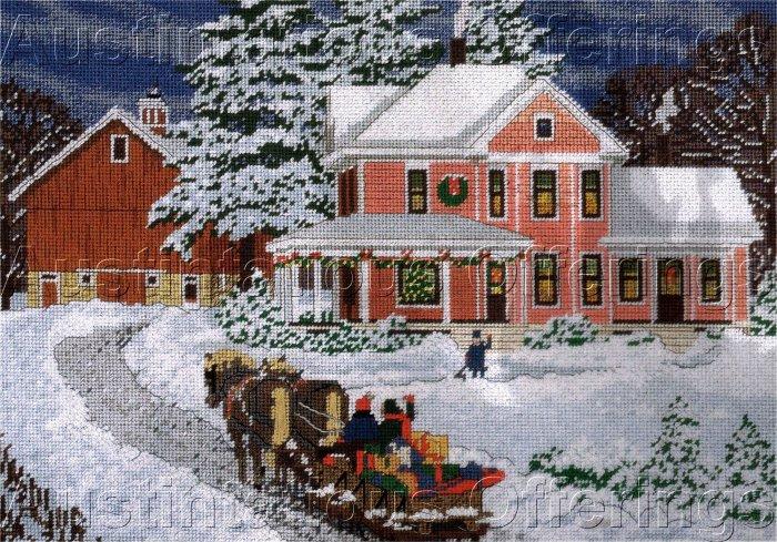 RARE SLOANE CHRISTMAS FARM NEEDLEPOINT KIT HOLIDAY SLEIGH