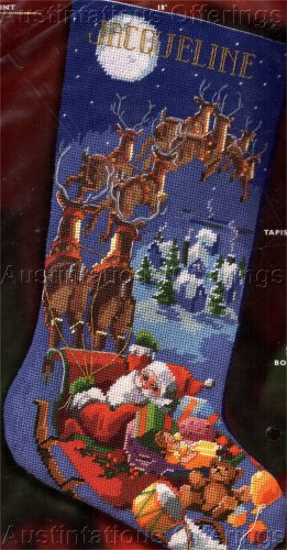 ROSSI NEEDLEPOINT CHRISTMAS STOCKING KIT REINDEER OVER ROOFTOPS