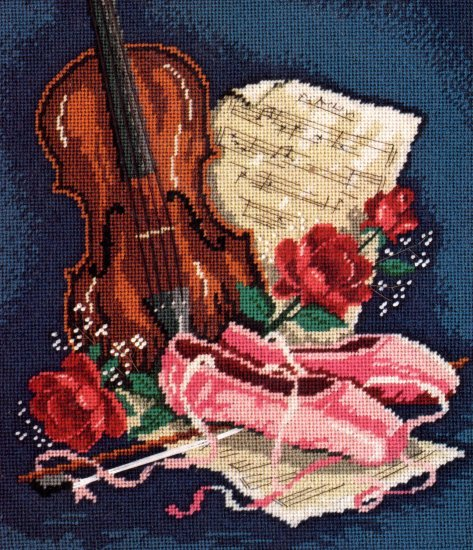 BALLERINA STILL LIFE NEEDLEPOINT KIT VIOLIN PINK TOE SHOES