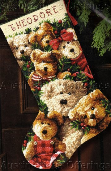 CHRISTMAS TEDDY BEARS NEEDLEPOINT STOCKING KIT HOLIDAY TEDDIES