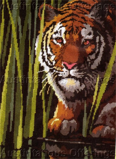 RARE REINARDY WILDLIFE BIG CAT NEEDLEPOINT KIT  CROUCHING TIGER