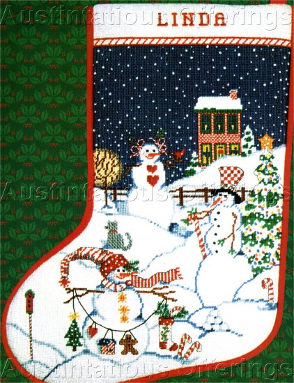 RARE SANDI GORE-EVANS SNOWMEN VILLAGE NEEDLEPOINT STOCKING KIT PEPPERMINT HILL CHRISTMAS