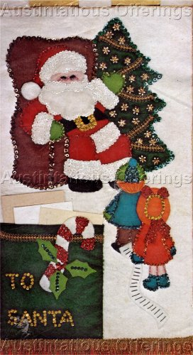 Rare Felt Applique Embroidery Kit  Letters to Santa  Banner