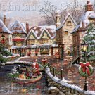 RARE CARL VALENTE GOLD COLLECTION  CROSS STITCH KIT CHRISTMAS COVE WATERSIDE VILLAGE