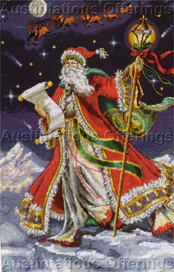 SANTA'S MAGICAL MIDNIGHT RIDE CHRISTMAS CROSS STITCH STOCKING KIT