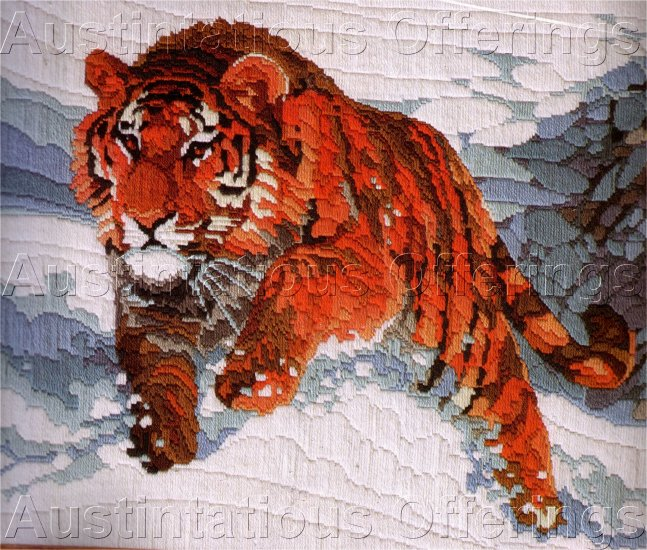 HARD TO FIND ROGER REINARDY WILDLIFE LONGSTITCH NEEDLEPOINT KIT SNOW TIGER