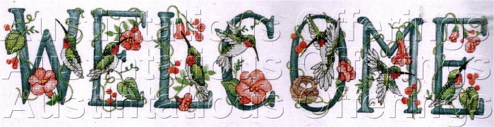HUMMINGBIRD FLORAL WELCOME SAMPLER STAMPED CROSS STITCH KIT
