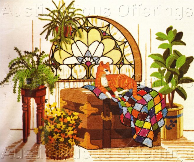 RARE JENNINGS CAT QUILT CREWEL EMBROIDERY KIT HOPE CHEST