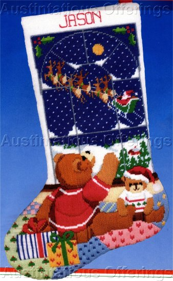 RARE CHRISTMAS EVE LONGSTITCH NEEDLEPOINT STOCKING KIT TEDDY BEAR GOODNIGHT SANTA