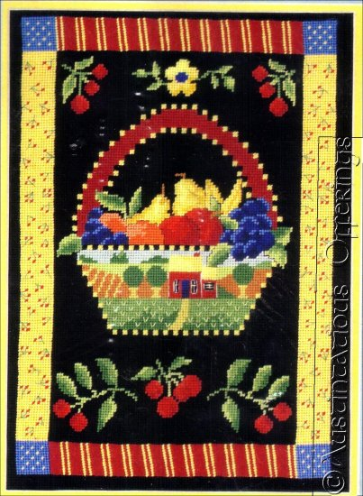 HARD TO FIND FOLK ART FRUIT BASKET NEEDLEPOINT KIT CHEERY CHERRIES