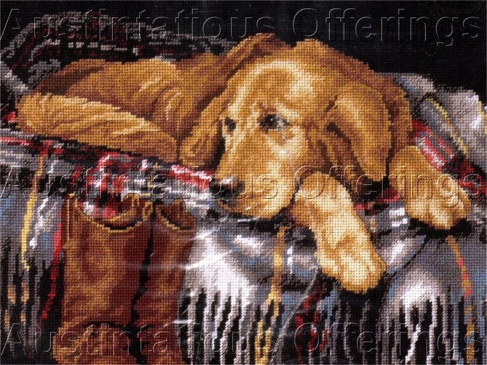 RARE LINDA DANIELS GOLDEN RETRIEVER NEEDLEPOINT KIT FAITHFUL DOG