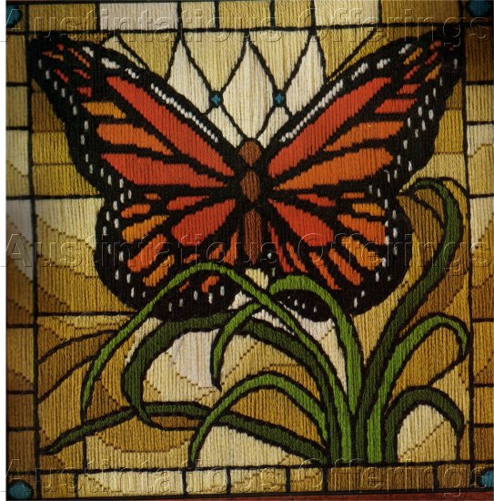 RARE BARRANI LONGSTITCH NEEDLEPOINT KIT STAINED GLASS BUTTERFLY WINDOW