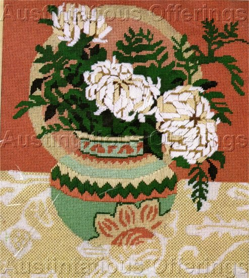 RARE AUTUMN TEXTURED NEEDLEPOINT KIT EXOTIC ORIENTAL MUMS FLORAL VASE