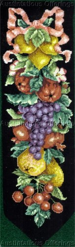 STRIKING BLACK BACKGROUND BELL PULL NEEDLEPOINT KIT SUMMER FRUIT HARVEST LECLAIR