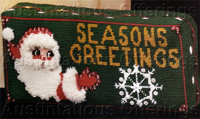 SANTA SEASON GREETING BRICK DOORSTOP NEEDLEPOINT KIT