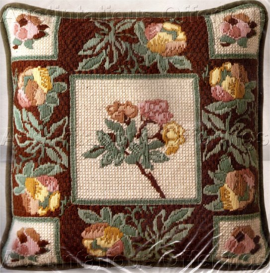 DESIGNER JOHN KLOSS  RARE TEXTURED LONGSTITCH NEEDLEPOINT KIT FLORAL TAPESTRY PILLOW