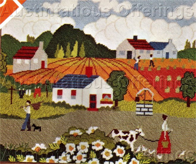 RARE GOSZ FOLK ART FARM TEXTURED  NEEDLEPOINT KIT PRIMITIVE AMERICANA COUNTRY SUMMER
