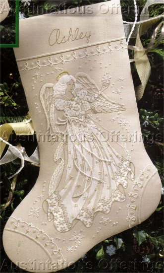 RARE IVORY TONES SNOWFLAKE BEADED ANGEL CREWEL EMBROIDERY STOCKING KIT