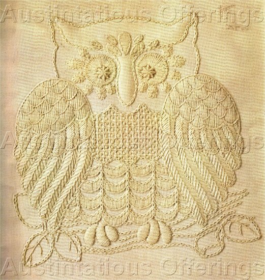 RARE GERRISH WHITE ON WHITE  OWL TRAPUNTO CREWEL EMBROIDERY KIT BIRD OF PREY