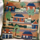 FOLK ART SALTBOX COLONIAL HOUSES LARGE COUNT NEEDLEPOINT PILLOW KIT