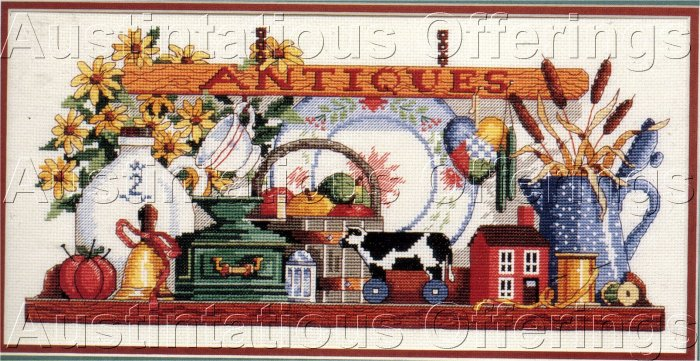 RARE COUNTRY TREASURES LEWIS JOHNSON CROSS STITCH KIT KITCHEN ANTIQUES