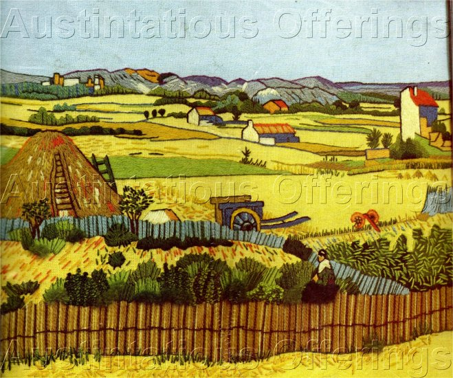 RARE VAN GOGH ART REPRODUCTION THE REAPING CREWEL EMBROIDERY KIT HARVEST TIME