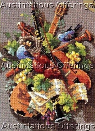 RARE  ROSSI STILL LIFE & MUSICAL INSTRUMENTS NEEDLEPOINT KIT