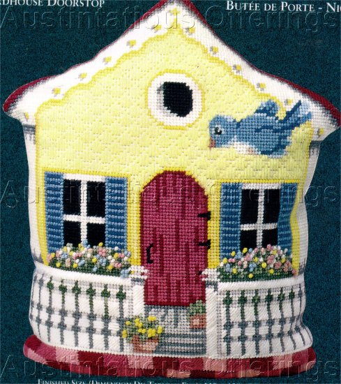 BLUEBIRD COTTAGE NEEDLEPOINT PILLOW / DOORSTOP KIT ENCHANTING BIRDHOUSE
