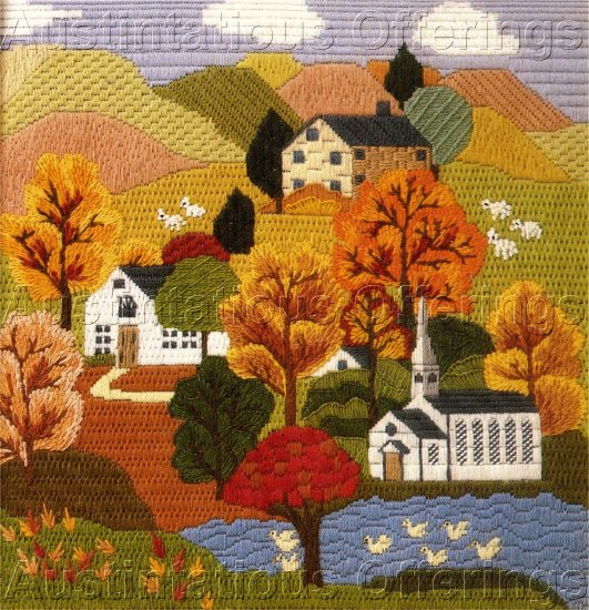RARE ERICA WILSON FOLK ART VILLAGE AUTUMN HILLS TEXTURED NEEDLEPOINT KIT