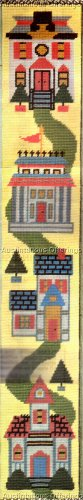 RARE VICTORIAN HOMES BELLPULL NEEDLEPOINT KIT BRIGHT & CHEERY MAINSTREET HOUSES