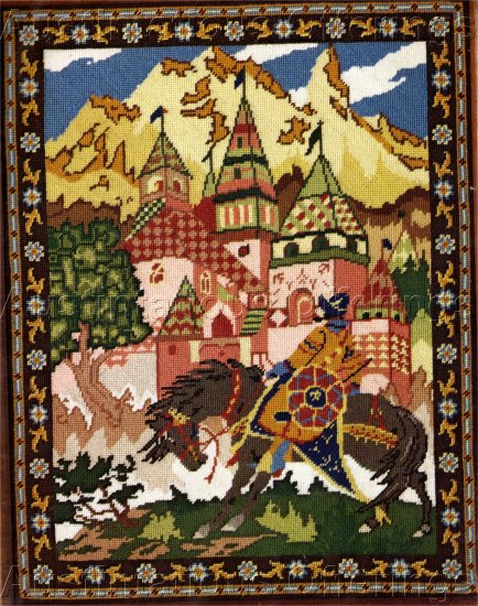 RARE GLENN MEDIEVAL RUSSIAN FAIRY TALE NEEDLEPOINT KIT BORIS ZVORYKIN ARTWORK