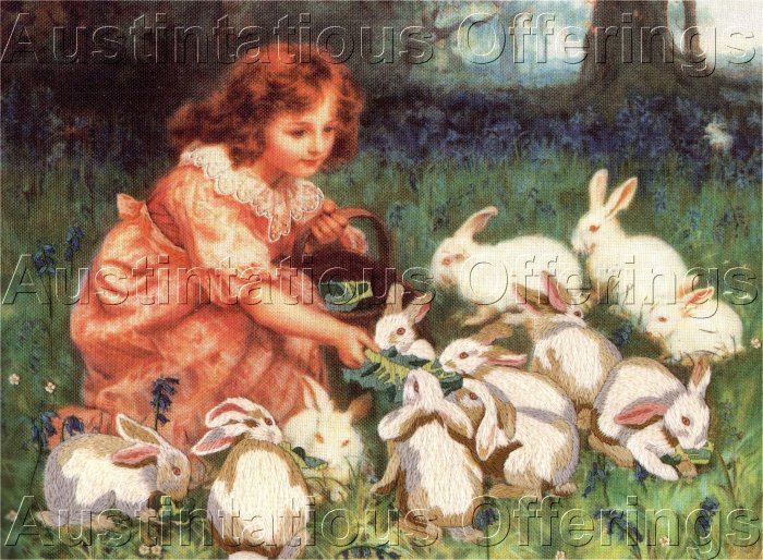 RARE REDHEADED ALICE CREWEL  EMBROIDERY KIT WONDERLAND WHITE RABBITS