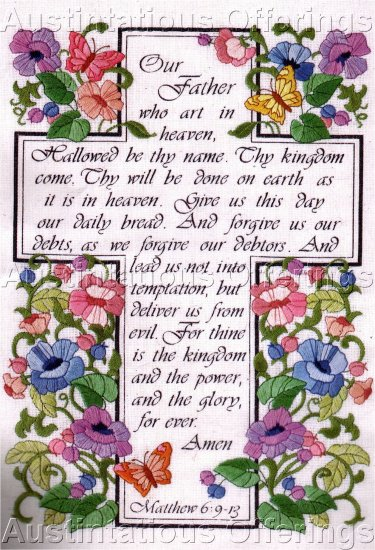 HARD TO FIND INSPIRATIONAL CREWEL EMBROIDERY KIT LORDS  PRAYER